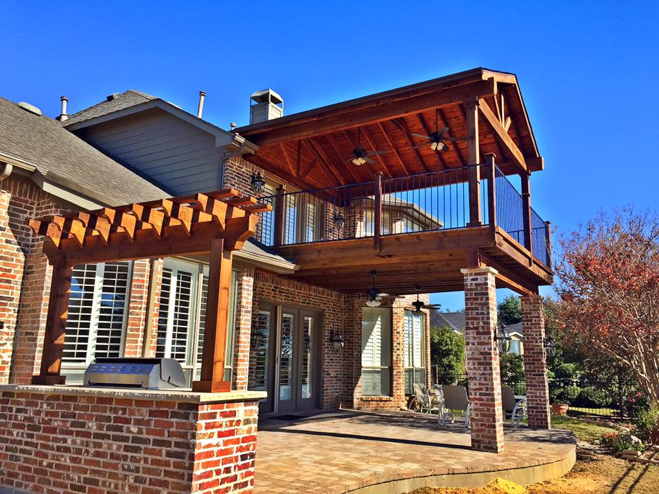 Double decker upper lower patio with bbq remodeling for Two story deck